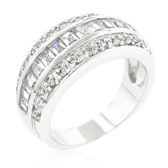 Genuine Rhodium Plated 3-Row Classic Ring with Channel Set Rows of Round Cut and Emerald Cut Cubic Zirconia in