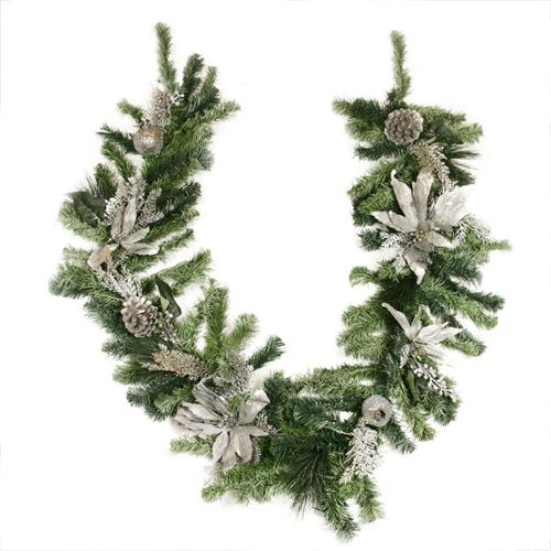 "6' x 12"" Pre-Decorated Silver Poinsettia, Pomegranate and Pine Cone Artificial Christmas Garland - Unlit"