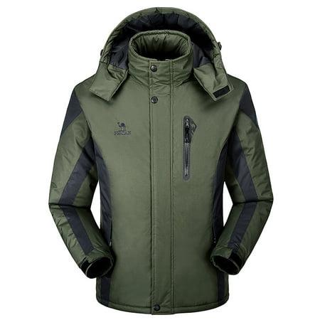 Men's Winter Outdoor Cashmere Thickening Hoodie Zipper Sport Hat Removable Coat