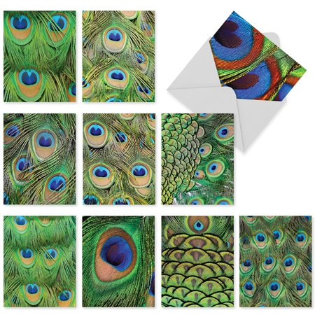M3003 FANCY FEATHERS: 10 Assorted 'Thank You' Note Cards with Matching Envelopes, Notecard Set, The Best Card