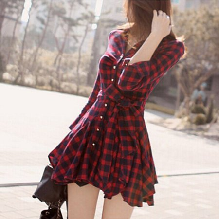 EFINNY Fashion Women's Shirt Dress Long Sleeve Red Plaid Belt Pleated V-Neck T-shirt Mini Dresses