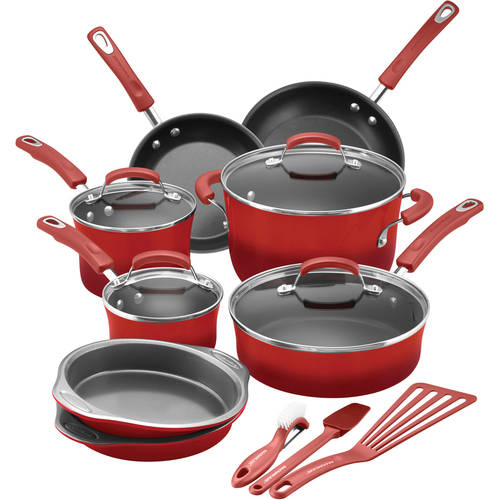 Rachael Ray 15 Piece Hard Enamel Aluminum Nonstick Cookware Set, Marine Blue by Meyer Industries Limited