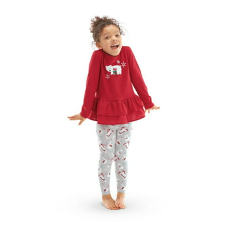 American Girl BITTY BABY Ruffled Polar Bear Holiday Pajamas Set Size Medium 4-5 (America Size)