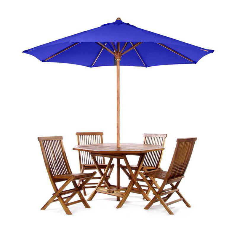 All Things Cedar Folding Patio Teak Dining Set with Umbrella - Seats 4