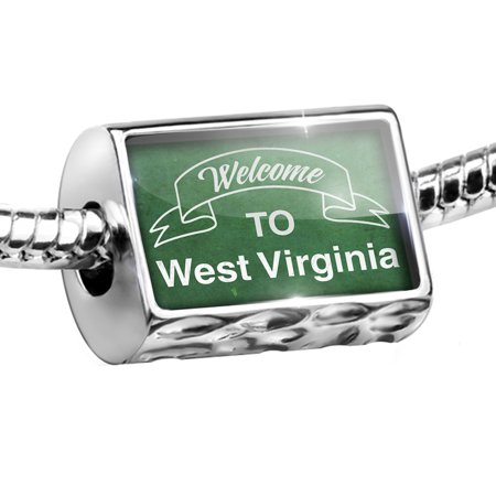 Bead Green Sign Welcome To West Virginia Charm Fits All European Bracelets