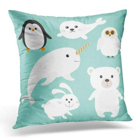 CMFUN Arctic Polar Animal White Bear Owl Penguin Seal Pup Baby Harp Hare Rabbit Narwhal Unicorn Fish Kids Pillow Case Pillow Cover 20x20 (Harp Seal Kids)