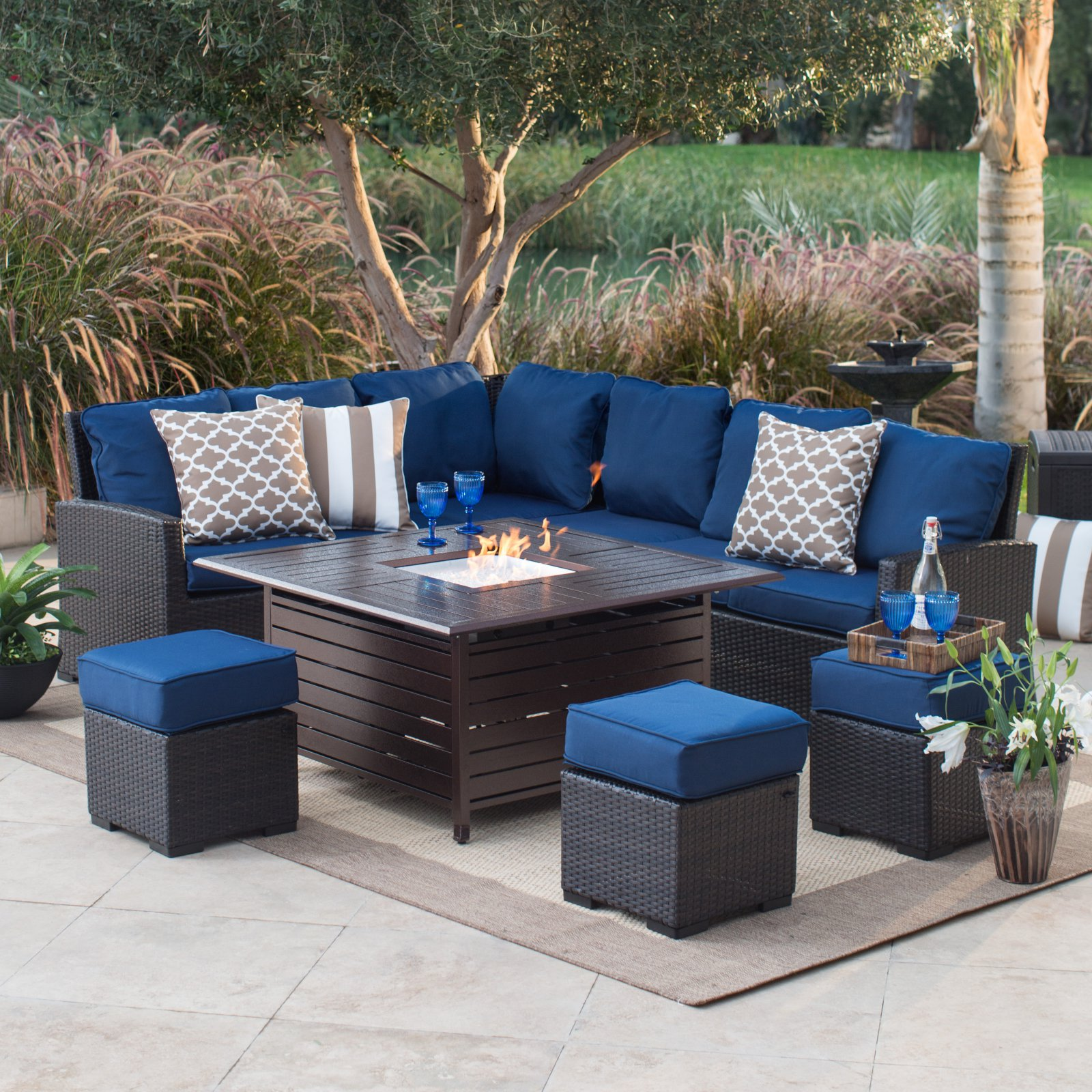 Belham Living Monticello All-Weather Wicker Fire Pit Chat Set with Longmont Square