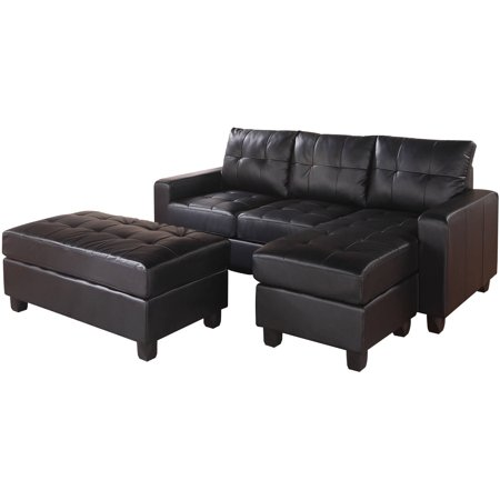 Acme lyssa reversible chaise sectional and ottoman bonded for Bonded leather chaise