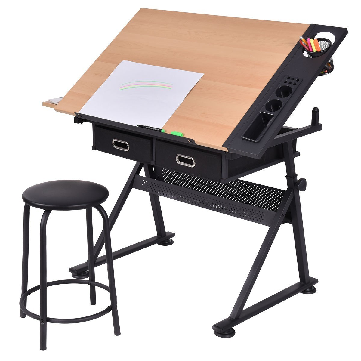 Superb Adjustable Drafting Table Art Craft Drawing Desk Art Hobby W/ Stool And  Drawers