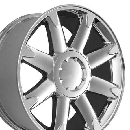 OE Wheels - 20x8.5 Wheel - Fits Chevy Silverado, Tahoe, GMC Sierra, Yukon, Cadillac Escalade - GMC Yukon Denali Style Chrome Rim, Hollander 5304, 20