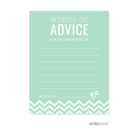 Advice Cards Mint Green Chevron Baby Shower Games, (Card Complete Mint)