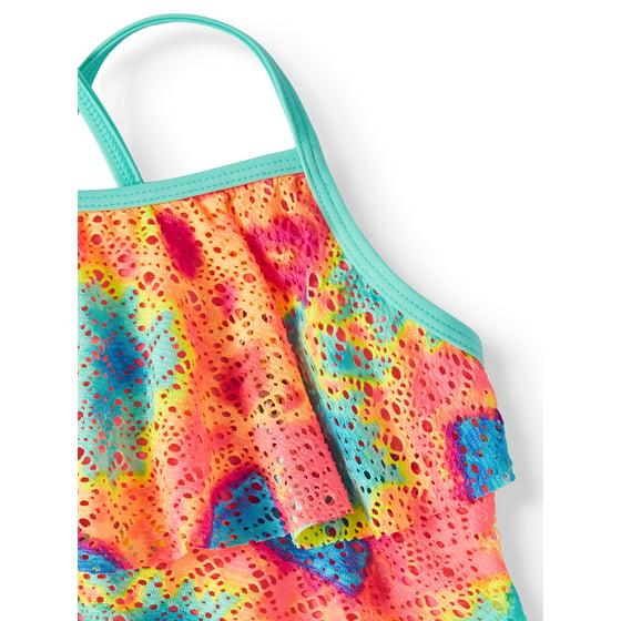 a1e3da60f3b579 Wonder Nation - Tie Dye Printed Crochet Tankini Swimsuit (Little ...