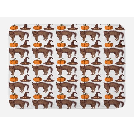 Halloween Bath Mat, Seasonal Vintage Pattern with Pumpkin Squash Witch Hats and Cat Figures, Non-Slip Plush Mat Bathroom Kitchen Laundry Room Decor, 29.5 X 17.5 Inches, Brown Orange Green, Ambesonne
