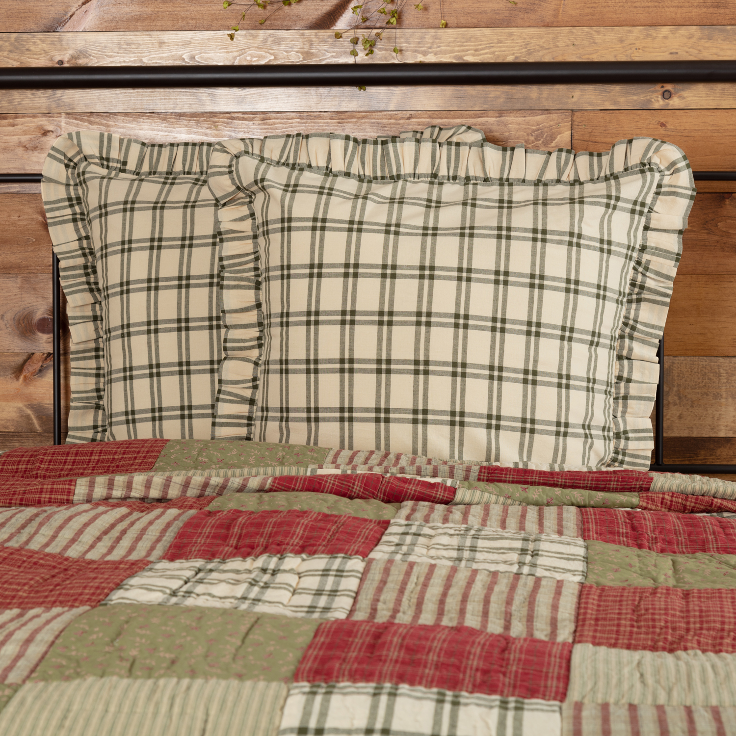 Sage Green Farmhouse Bedding Prairie Winds Cotton Windowpane Euro Sham