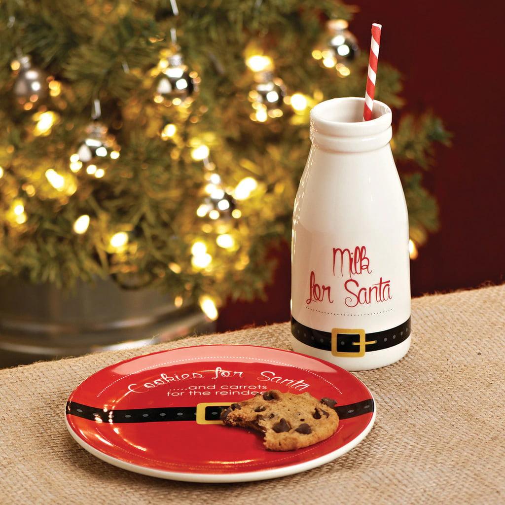 Santa Christmas Eve Cookies and Milk Set