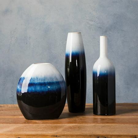 Alscher Blue Ceramic Modern Decorative Vase Set Of 3 Walmart