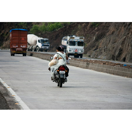 Canvas Print Bike Road Transportation India Traffic Motorcycle Stretched  Canvas 10 x 14