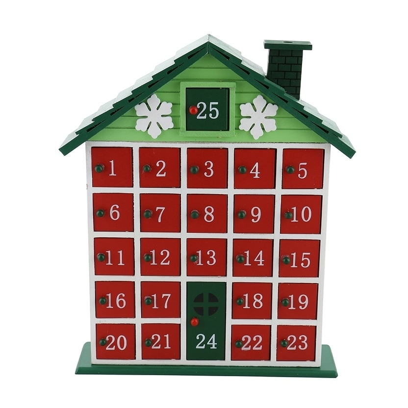 "Green & Red Rustic Cabin Advent Wooden Calendar Countdown to Christmas Interactive Holiday Calendar Home Decor 12"" X 10"""