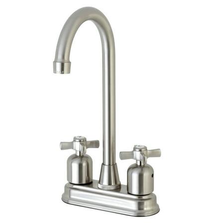 """Kingston Brass Millennium FB498ZX 4"""" Centerset High-Arch Spout Bar Faucet, Satin Nickel"""