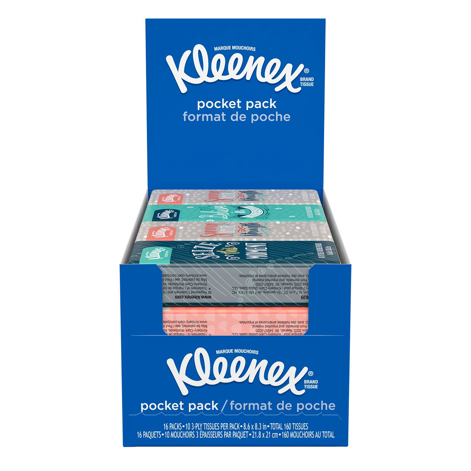 Pack of 3 Kleenex Facial Tissues, On-The-Go Pack (10 Tissues per Pack, 16 pk.)