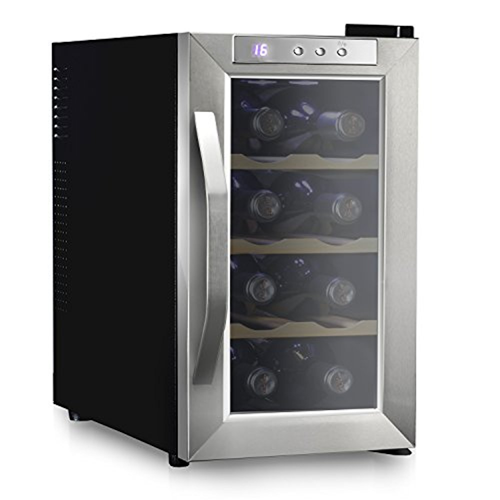 Ivation 8 Bottle Thermoelectric Wine Cooler/Chiller - Stainless Steel - Counter Top Red & White Wine Cellar w/Digital Temperature, Freestanding Refrigerator Smoked Glass Door Quiet Operation Fridge