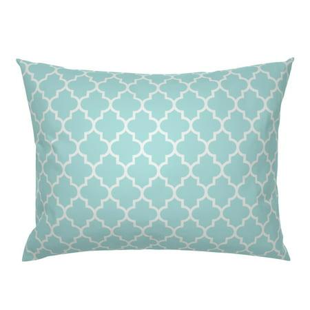 Quatrefoil Moroccan Morrocan Modern Mint Classic Ogee Pillow Sham by Roostery Mist Pillow Sham