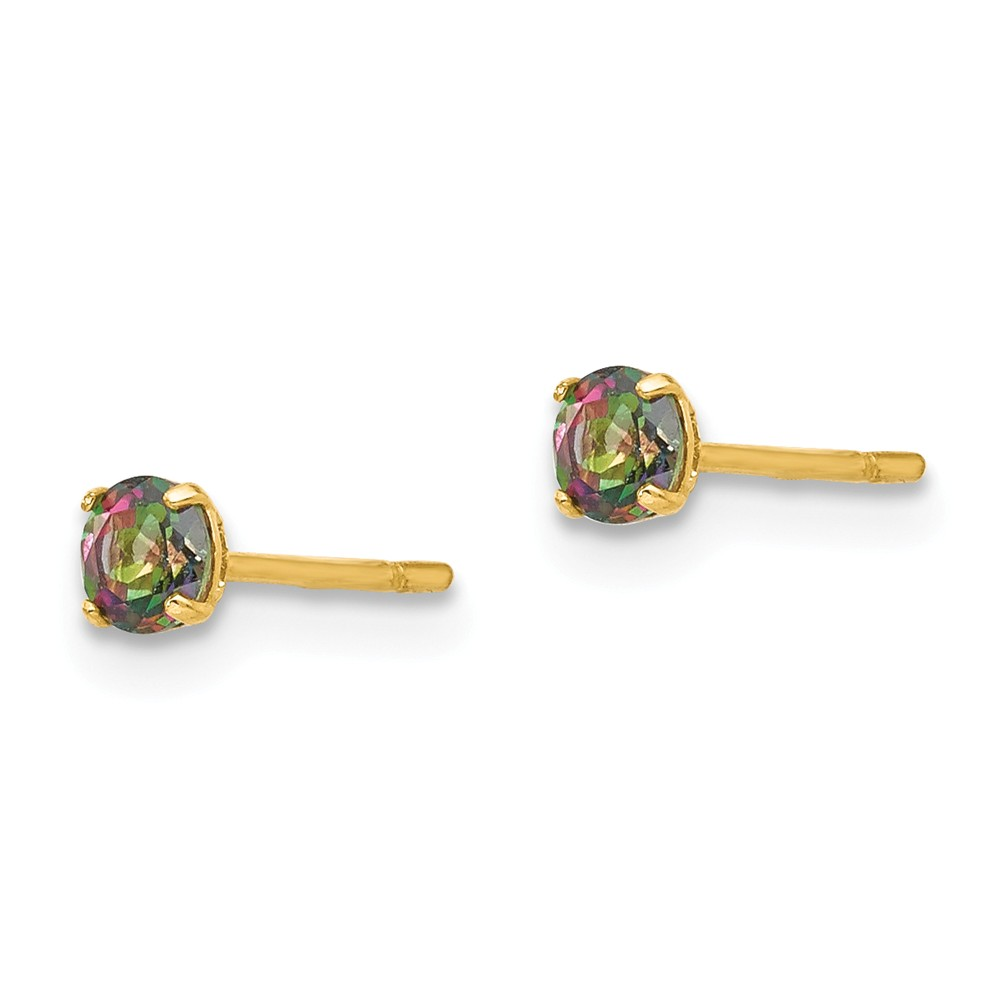 14K Yellow Gold Madi K Childrens 3 MM Round Mystic Topaz Post Stud Earrings
