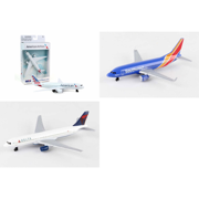 """American, Southwest, Delta Airlines Diecast Airplane Package - Three 5.5"""" Diecast Model Planes"""