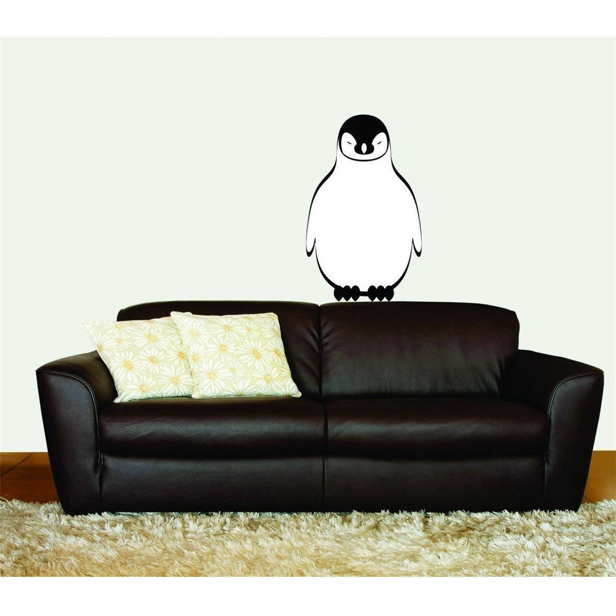 "Penguin Animal Vinyl Wall Decal Picture Art, 12"" x 20"", Black and White"