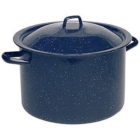 IMUSA USA 4 Quart Enamel Blue Stock Pot with White Speckles
