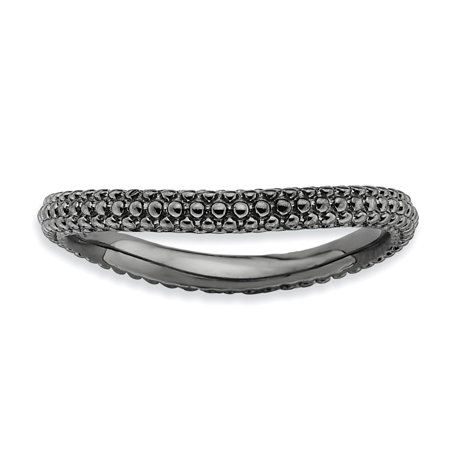 Sterling Silver Stackable Expressions Polished Black-plate Wave Ring Size 6 - image 1 de 3