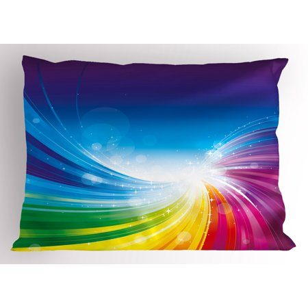 Colorful Pillow Sham Funky Pop Art Stylized Radiant Lines Design in Wave-Like Color Reflections Image, Decorative Standard Size Printed Pillowcase, 26 X 20 Inches, Multicolor, by Ambesonne