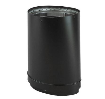 """DURA-VENT 8"""" Oval to Round Double Wall Black Stovepipe"""
