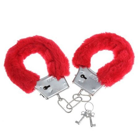 Red Fuzzy Furry Love Metal Handcuffs with Keys