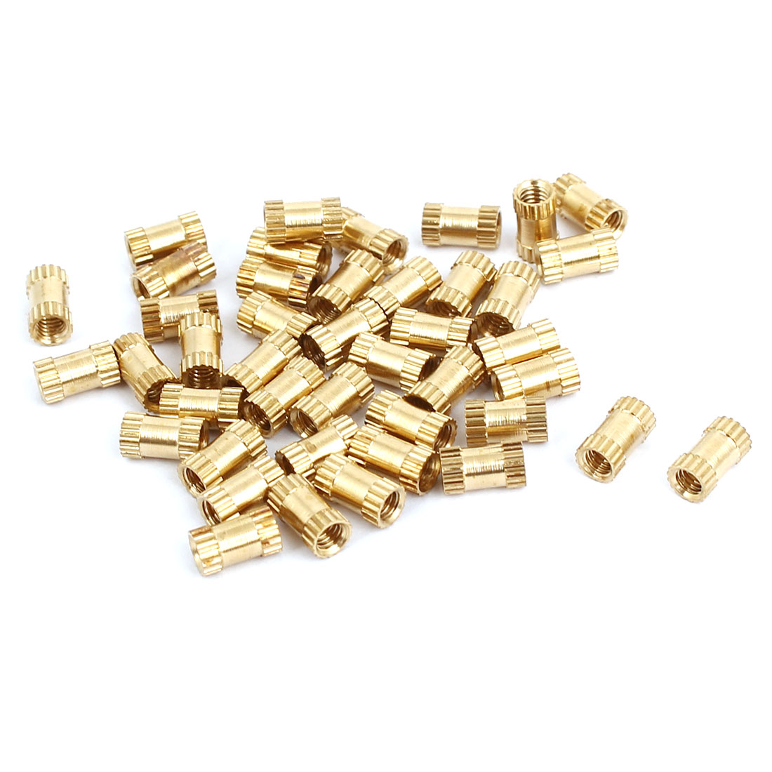 M2.5x6mmx3.5mm Female Thread Brass Knurled Insert Embedded Nuts Gold Tone 40pcs