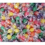 Assorted Sour Fruit Flavored Primrose Hard Candy Balls, Orange, Grape, Lemon, Lime and Cherry Flavored Hard Candies, Individually Wrapped, Bulk 2 Pounds Bag