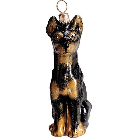 Joy Miniature (Miniature Pinscher Black Sitting Dog Polish Glass Christmas Ornament Decoration)