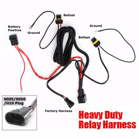 9005 9006 HB3 HB4 H10 9140 9145 HID Conversion Kit Relay ...  Bi Xenon Wiring Harness on