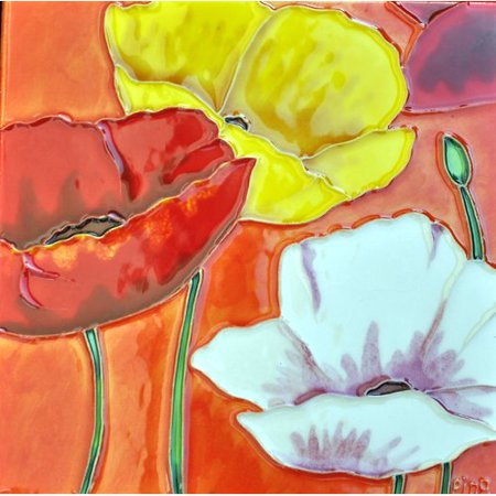 Continental Art Center 3 Poppies with Orange Background Tile Wall Decor