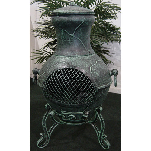 The Blue Rooster Etruscna Style Cast Aluminum Wood Burning Chiminea by The Blue Rooster