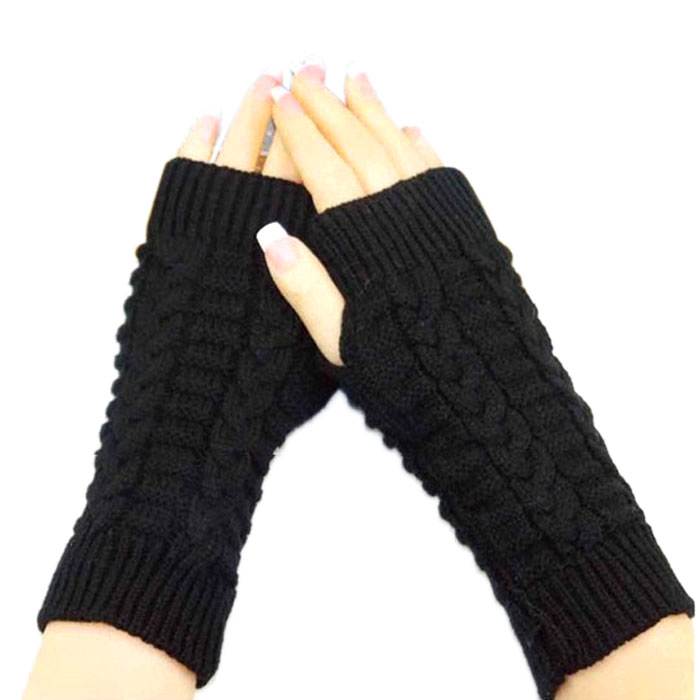 New Fashion Knitted Arm Fingerless Winter Gloves Unisex Soft Warm Mitten