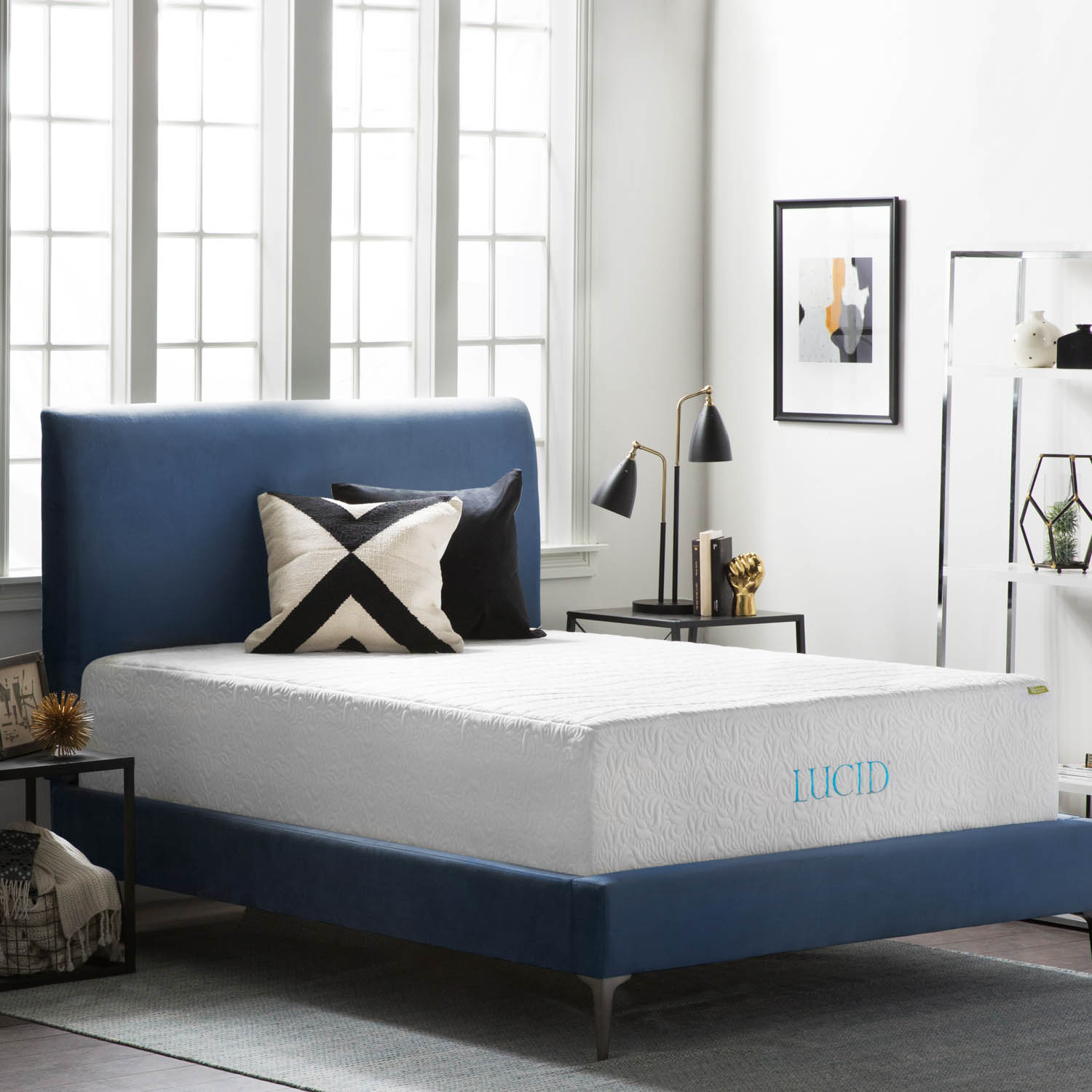 Lucid Deluxe 16 Inch Premium Support Plush Memory Foam Mattress