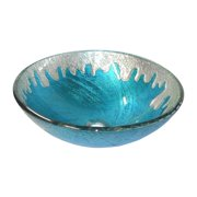 Eden Bath Blue Ice Glass Vessel Sink 5.5H