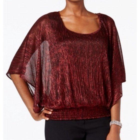 412001e18 Onyx Nite - Onyx Nite Women's Banded Kimono Shimmer Top (M, Black/Red) -  Walmart.com