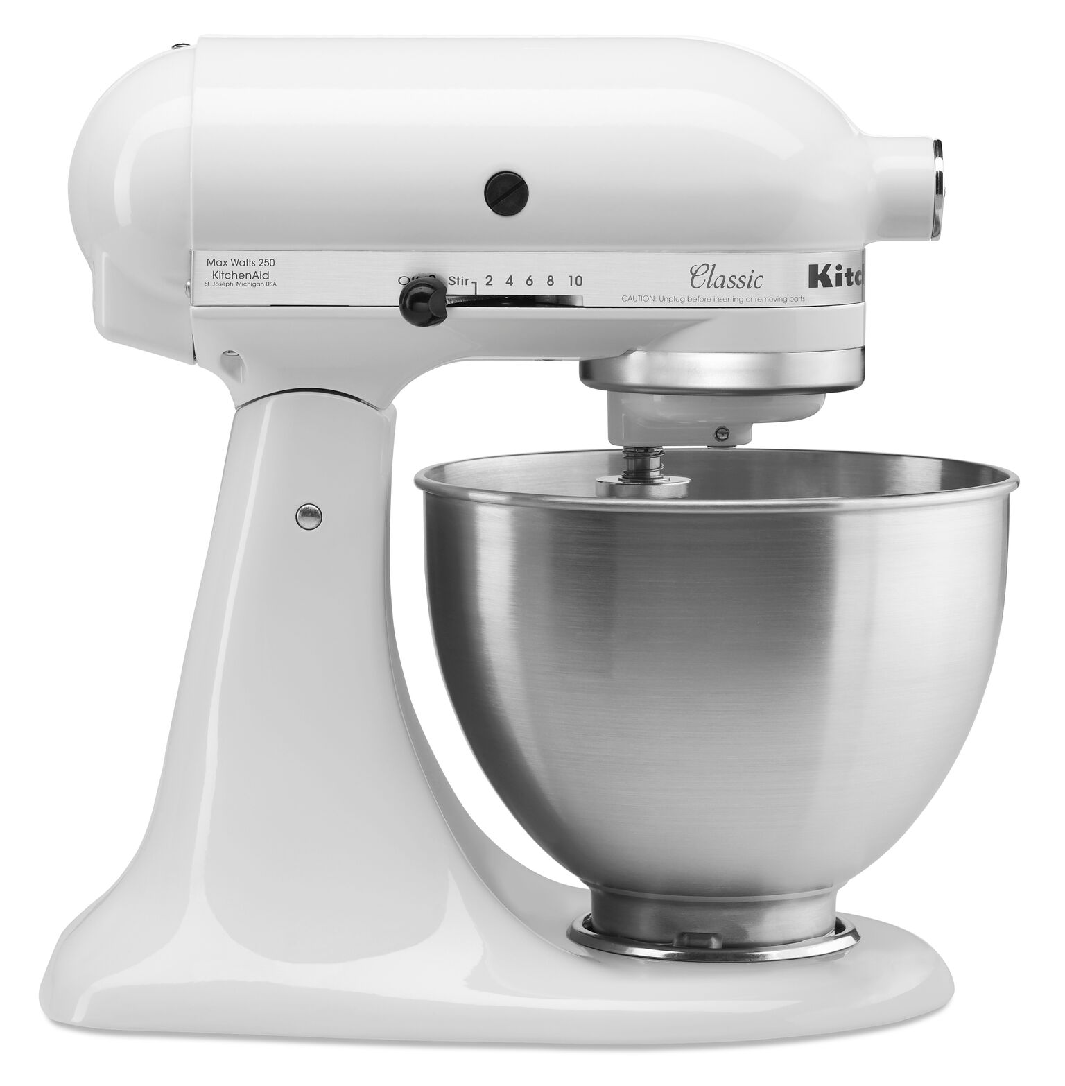 KitchenAid Classic Series 4.5 Quart Tilt Head Stand Mixer, White (K45SSWH)