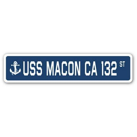 USS MACON CA 132 Street Sign us navy ship veteran sailor gift