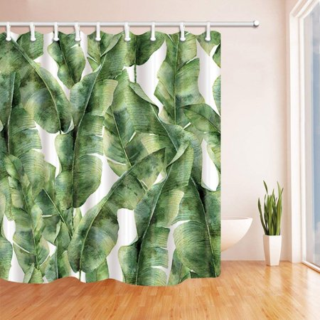 ARTJIA Tropic Plant Watercolor Banana Palm Leaves Polyester Fabric Bath Curtain, Bathroom Shower Curtain 66x72 inches