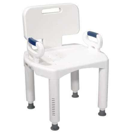 Back Premium Series - Premium Series Bath Bench with Back and Arms Plastic - White