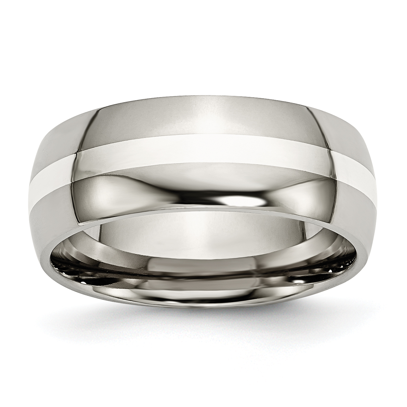 Titanium 925 Sterling Silver Inlay 8mm Wedding Ring Band Size 13 00