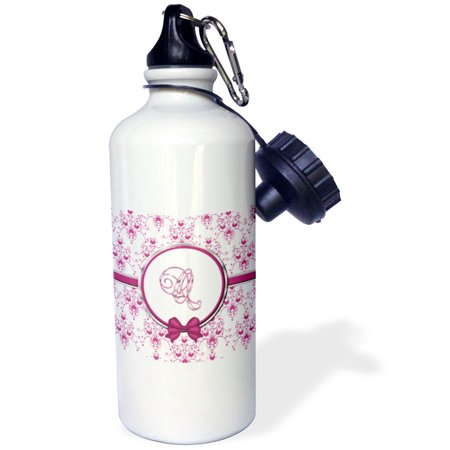 3dRose Elegant Pink and Silver Heart Damask Monogram Letter Q, Sports Water Bottle, 21oz](Q Sport Coupons)
